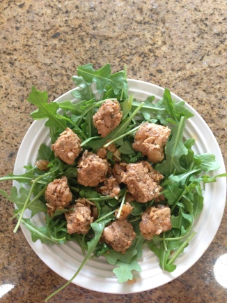 The finished product atop a bed of arugula!